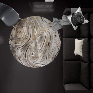 قالیچه گرد طرح چوب
