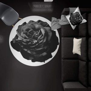 قالیچه گرد رز سیاه